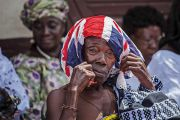 African person with British flag on their head