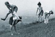 women leapfrog. Vintage