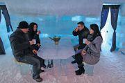 Tourists drinking, Balea Lac Hotel of Ice, Făgăraș Mountains