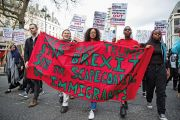 Students join anti-racist campaigners from groups including Movement for Justice to march through Central London
