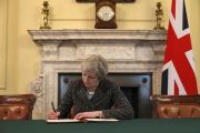 Theresa May signing Article 50 letter