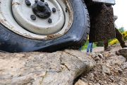 Truck tyre damaged by bumpy road