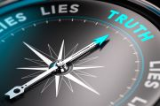 Truth and lies shown on moral compass