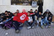 Unemployed people outside Tunisian Ministry of Vocational Training and Employment