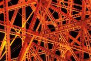 Web of girders coloured orange