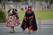 Woman dressed as a superhero