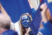 Woman in EU mask
