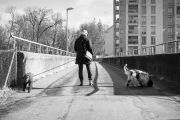 Woman on bridge with two dogs