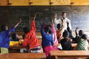 Young children being taught in classroom, Thika, Kenya