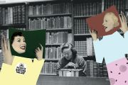 Young female student reading and studying in library