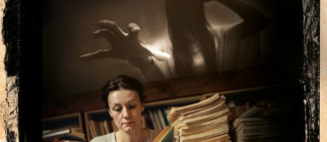 Montage of woman reading with ghost
