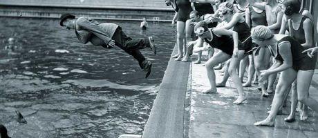 clothed-man-dive-pool