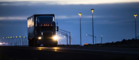 Lorry at night