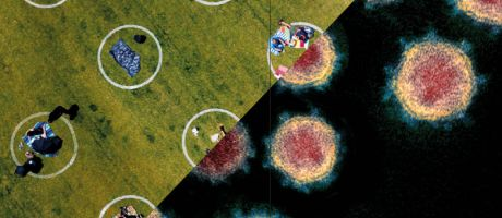 aerial view shows painted circles in the grass people sitting  inside each circle with half the image covered with coronavirus circles as a metaphor for Has the pandemic changed research culture for the better.