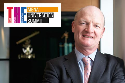 David Willetts with THE MENA Universities Summit logo