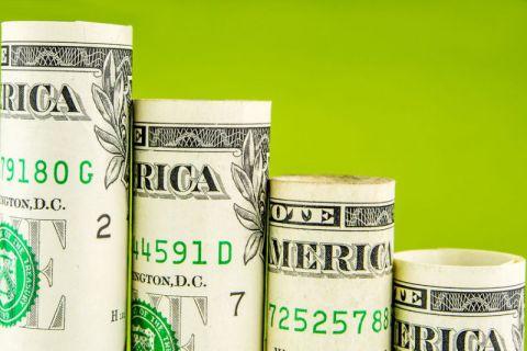 Falling steps made of one American dollar bills