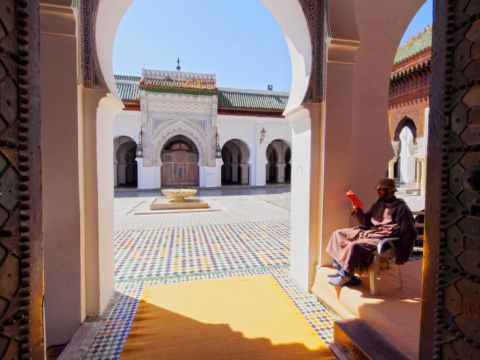 A man reads in the entrance of the University of al-Karaouine in Fes, Morocco