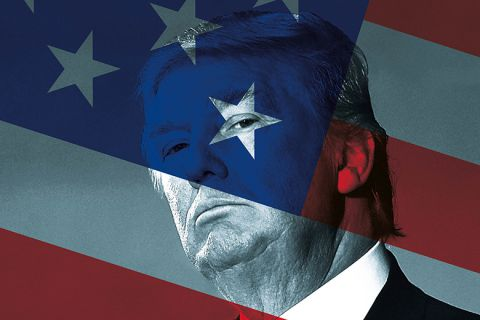 Donald Trump and US flag montage