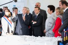Emmanuel Macron meets Jacques Biot, École Polytechnique president, on a visit to the institution