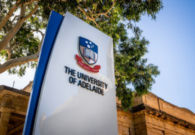 30 December 2018, Adelaide South Australia  Sign of the entrance of Adelaide University with logo