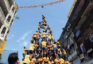 A human pyramid in Asia