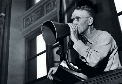 A man using a meaphone
