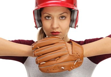 A female baseball pitcher symbolising female leaders