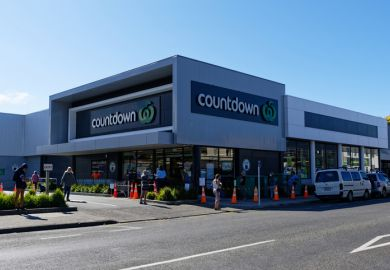 A queue outside the supermarket in Motueka, New Zealand