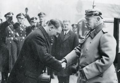Adolf Hitler greets President Paul von Hindenburg, 1934