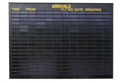 An empty arrivals board