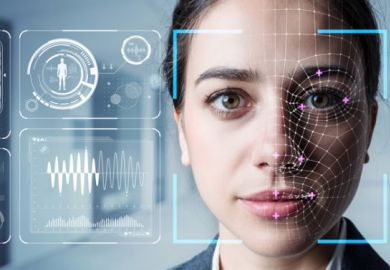 woman's face with (AI) data superimposed