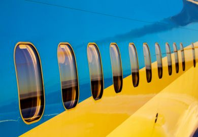 Airplane Windows on Blue Airliner in Ezeiza, Buenos Aires Province, Argentina