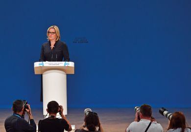 BIRMINGHAM, ENGLAND - OCTOBER 04: Home Secretary, Amber Rudd, delivers her first speech as Home Secretary on the third day of the Conservative Party Conference 2016 at the International Conference Centre on October 4, 2016 in Birmingham, England.