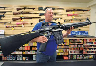 American with giant gun