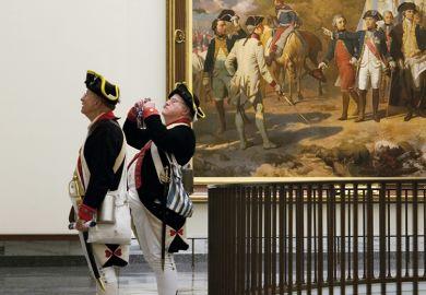War re-enactors visit the Museum of the American Revolution in Philadelphia