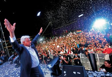 Mexican president Andres Manuel Lopez Obrador in Zocalo Square after winning the general election