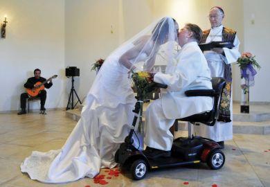 Archbishop Richard Gundrey performs wedding ceremony, Pojoaque, New Mexico