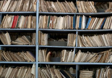 Archive of paperwork and files on shelves