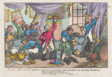 King Joe and Co. Making the Most of Their Time Previous to Quitting Madrid, by Thomas Rowlandson