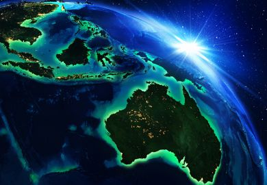 Asia-Pacific region at night