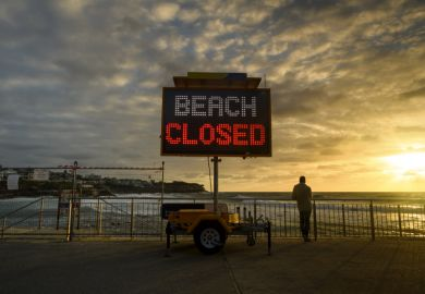 Beach closed sign for Covid in Australia
