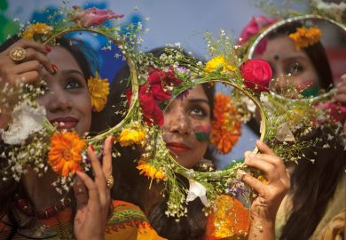 Bangladeshi girl has head decorated with flowers, Dhaka University