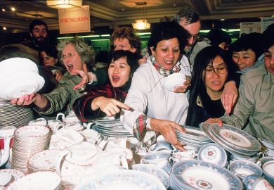 Shoppers jostle for a bargain