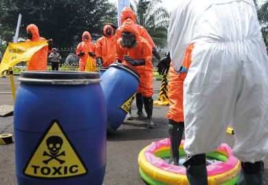 Barrels of toxic liquid