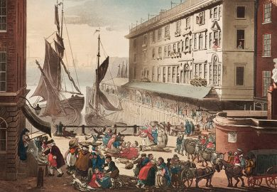 'Billingsgate Market', London, 1808 by J. Bluck after Rowlandson and Pugin