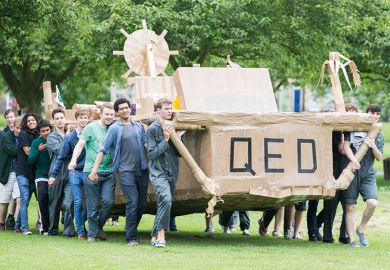 Cambridge students take part in the annual cardboard boat race
