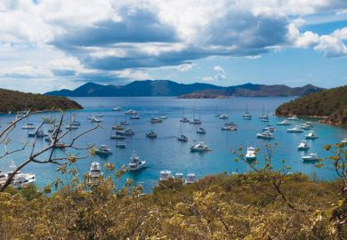 Boats anchored in harbour, British Virgin Islands