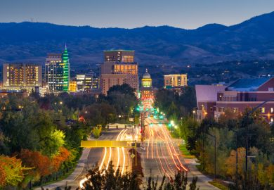 Boise, Idaho, USA downtown cityscape at twilight
