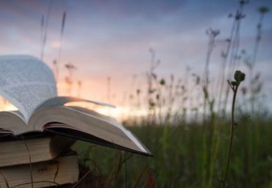 An open book at twilight