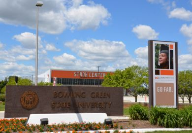 BOWLING GREEN, OH - JUNE 25 The sign next to the Stroh Center arena at Bowling Green State University in Bowling Green, Ohio, is shown on June 25, 2017.